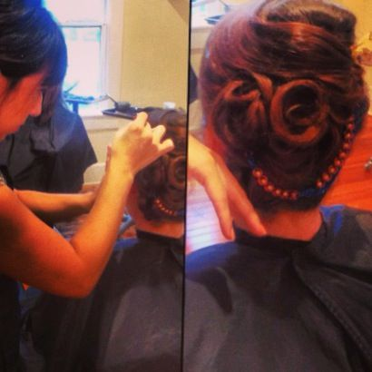 Up stylish do, by Jamie at Raw Hair Studio