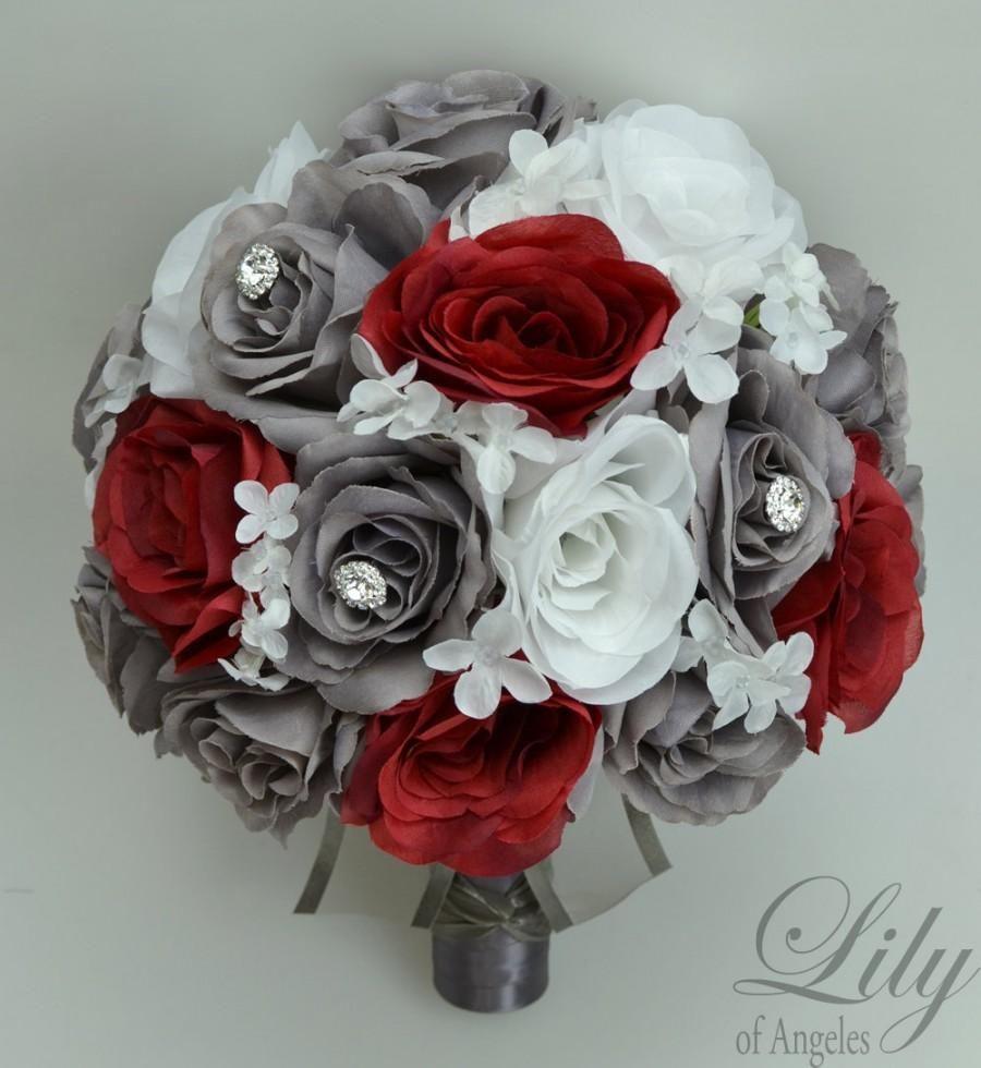 17 Piece Package Wedding Bridal Bouquet Silk Flowers Bouquets