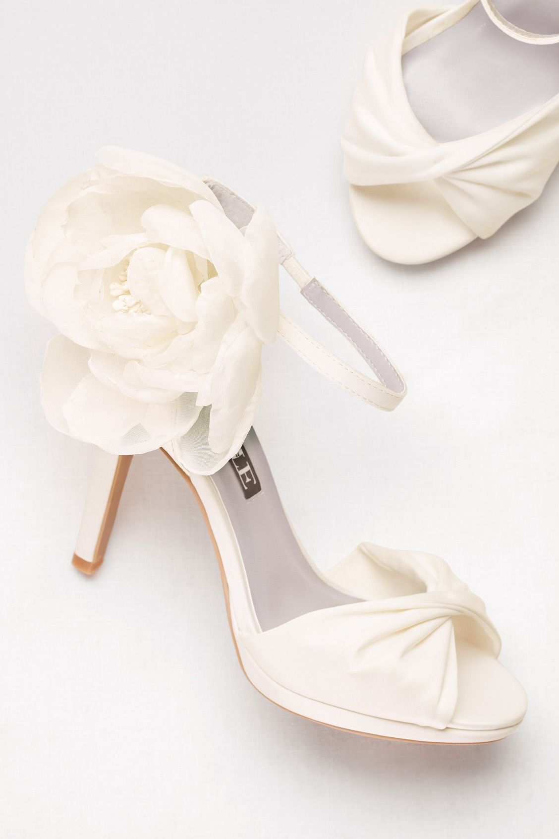0ae09e0490186c Ivory Twisted Satin Peep-Toes with Chiffon Flower | White by Vera Wang  wedding shoes available at David's Bridal