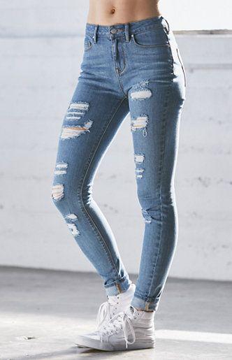 Tally Blue Ripped High Rise Skinny Jeans  0c7917b5dbf5f