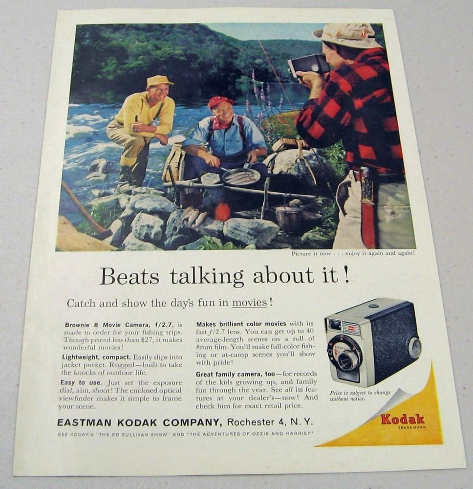 1961 print ad kodak brownie 8 movie camera fisherman eat shore 1961 print ad kodak brownie 8 movie camera fisherman eat shore lunch of fish malvernweather Images