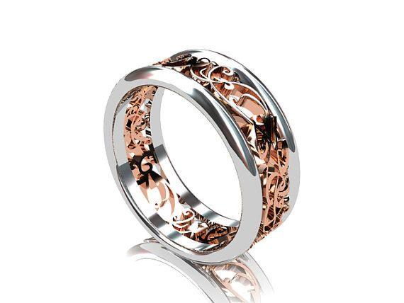 Filigree Wedding Band Filigree Ring Gold Ring Wedding Band Etsy In 2020 Mens Wedding Rings Rings For Men Filigree Wedding Band
