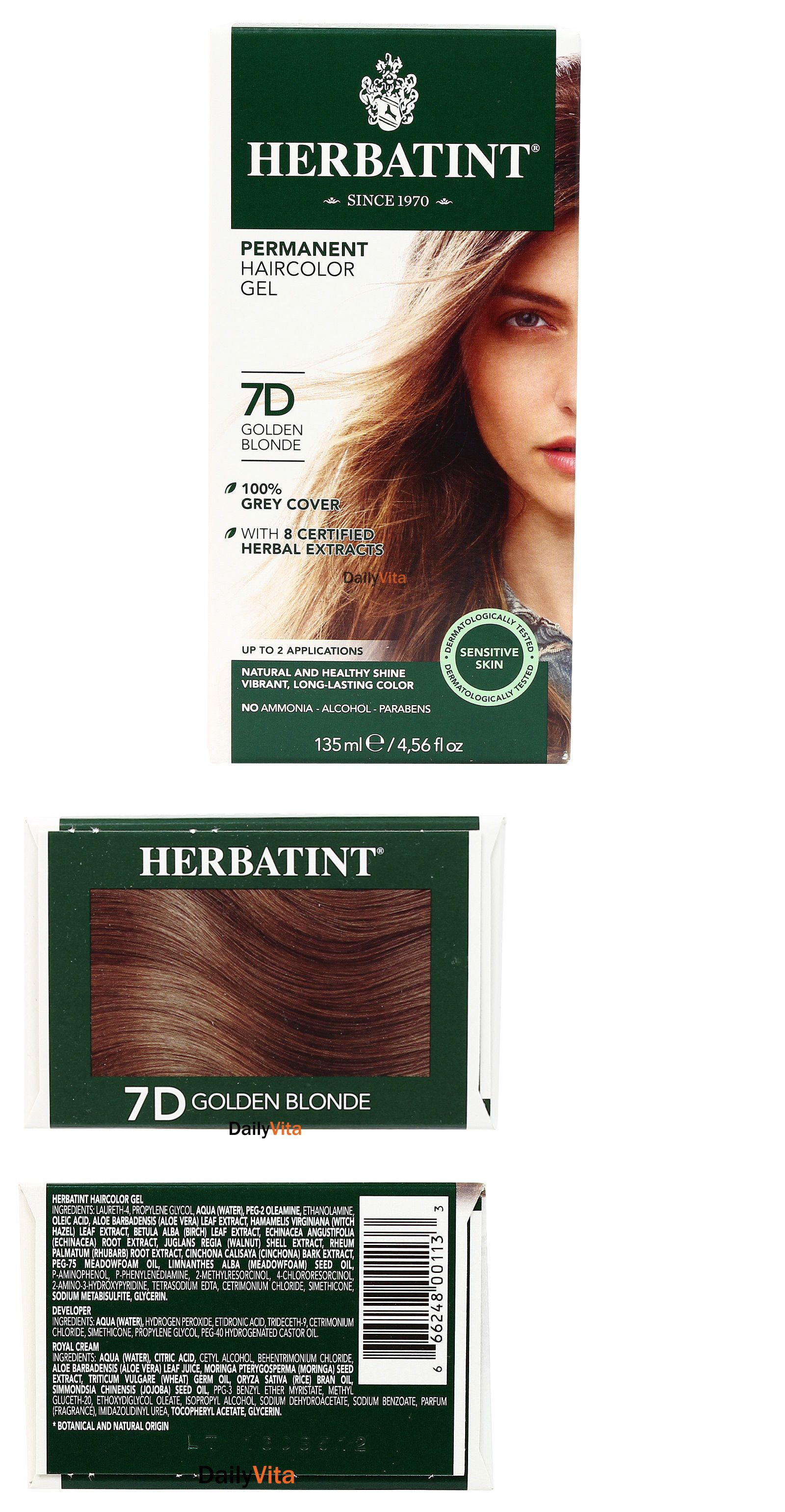 Herbatint Permanent Herbal Hair Color Gel 7d Golden Blonde 456