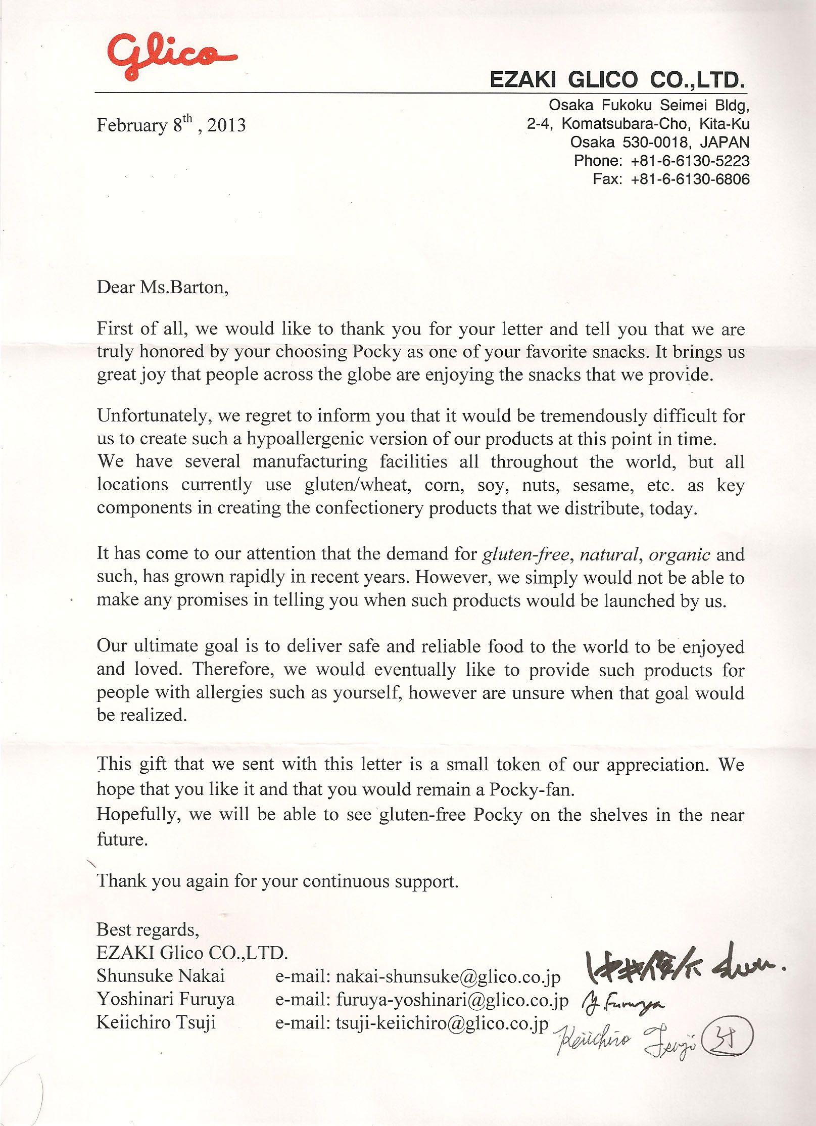 Breaking News Ezaki Glico Responds To Our Letter! The