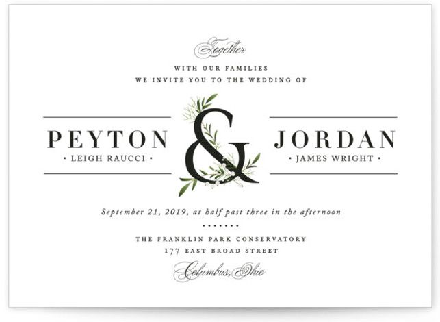 """Adorned Ampersand"" - Customizable Wedding Invitations in Green by Jennifer Postorino."