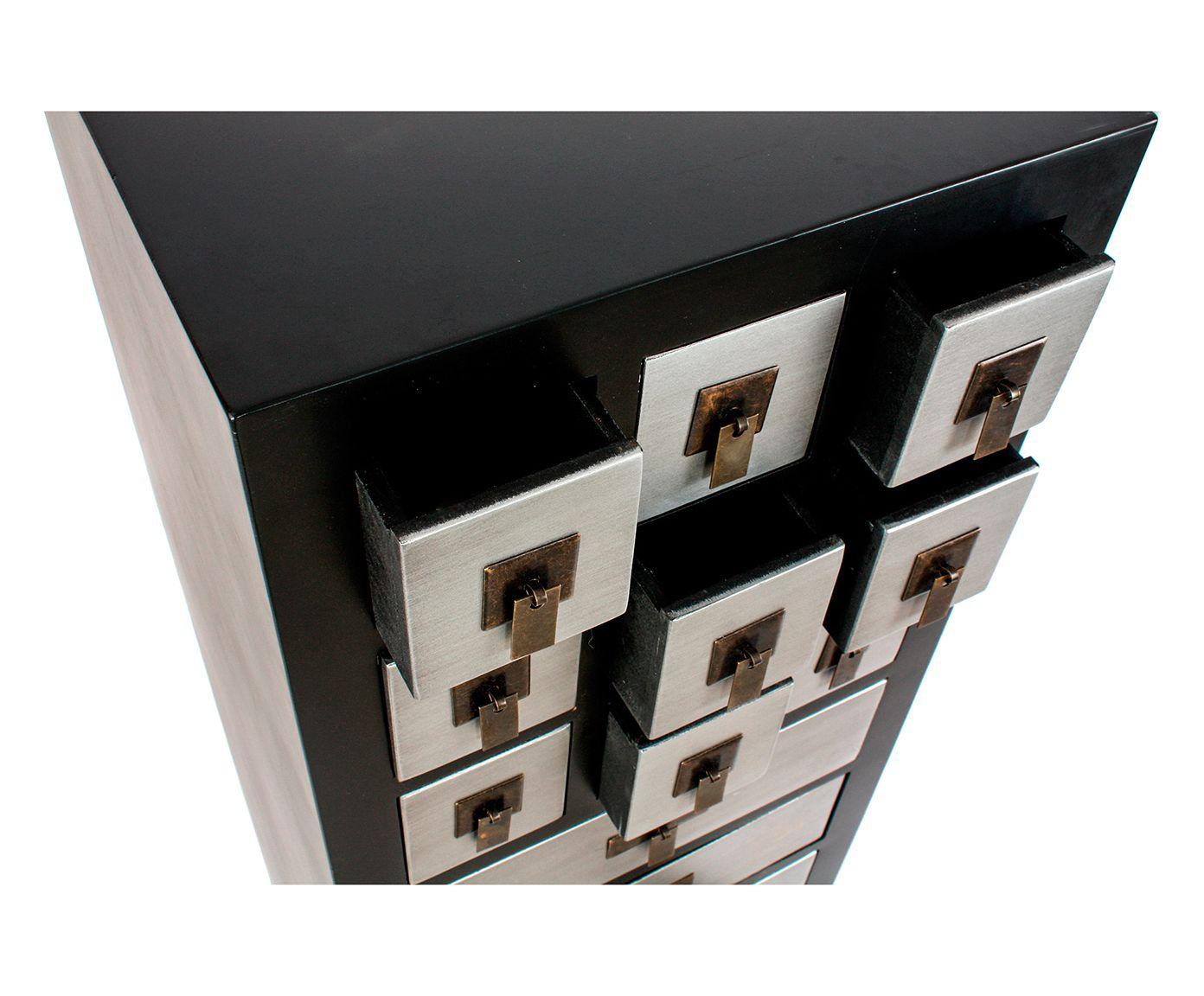 Mobili Argento ~ Mobiletto a 12 cassetti e 2 ante in mdf tokyo nero e argento