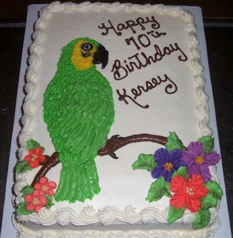 A Parrot for a 70th Birthday Bird cakes Cake and Cream cake