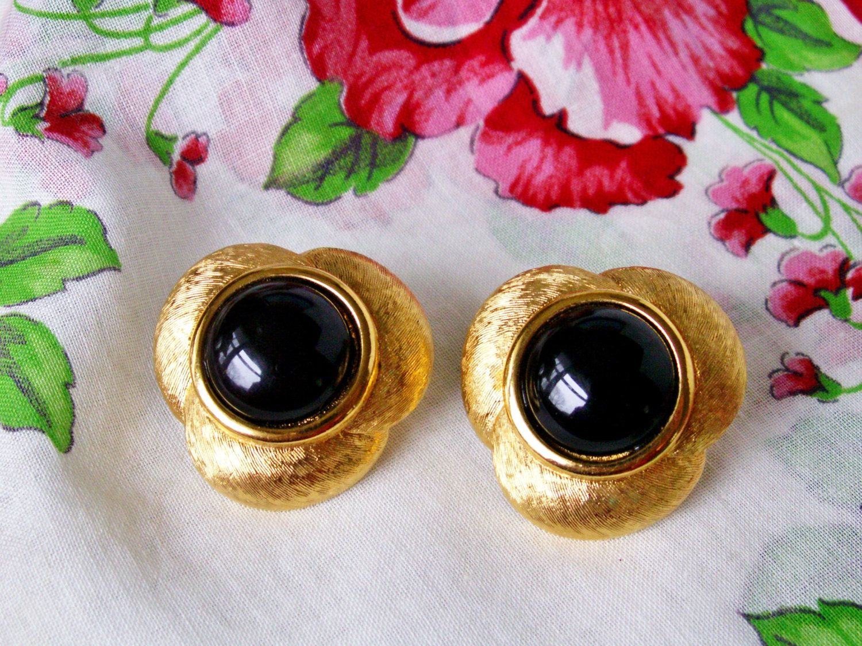 Vintage Napier Black Cabochon Brushed Gold Tone Adjustable Screw Back Earrings, Designer Signed 80's Earrings by dazzledbyvintage on Etsy