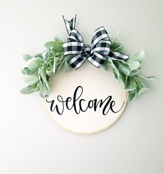 Photo of Welcome Hoop Wreath,  Farmhouse, Wall Decor, Country, Cottage, embroidery hoop, wall art, gallery wall 12″