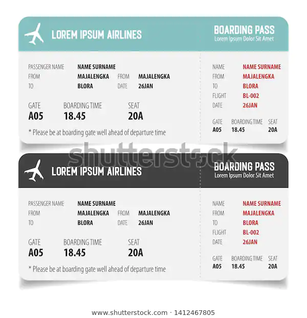 Boarding Pass Isolated Template On White Stock Vector Royalty Free 1412467805 Boarding Pass Templates Boarding Pass Template