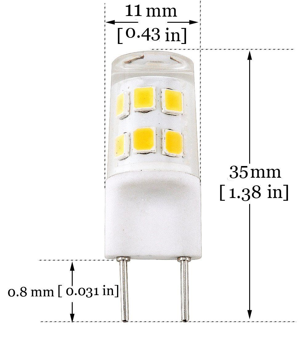 ... 2 Watts Warm White T4 G8 Base Bi Pin Xenon JCD Type LED 20W Halogen  Replacement Bulb For Under Counter Kitchen Lighting, Under Cabinet Light, Puck  Light ...