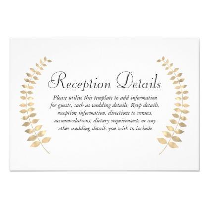 Garden Wedding Golden Leaf Wreath Reception Card