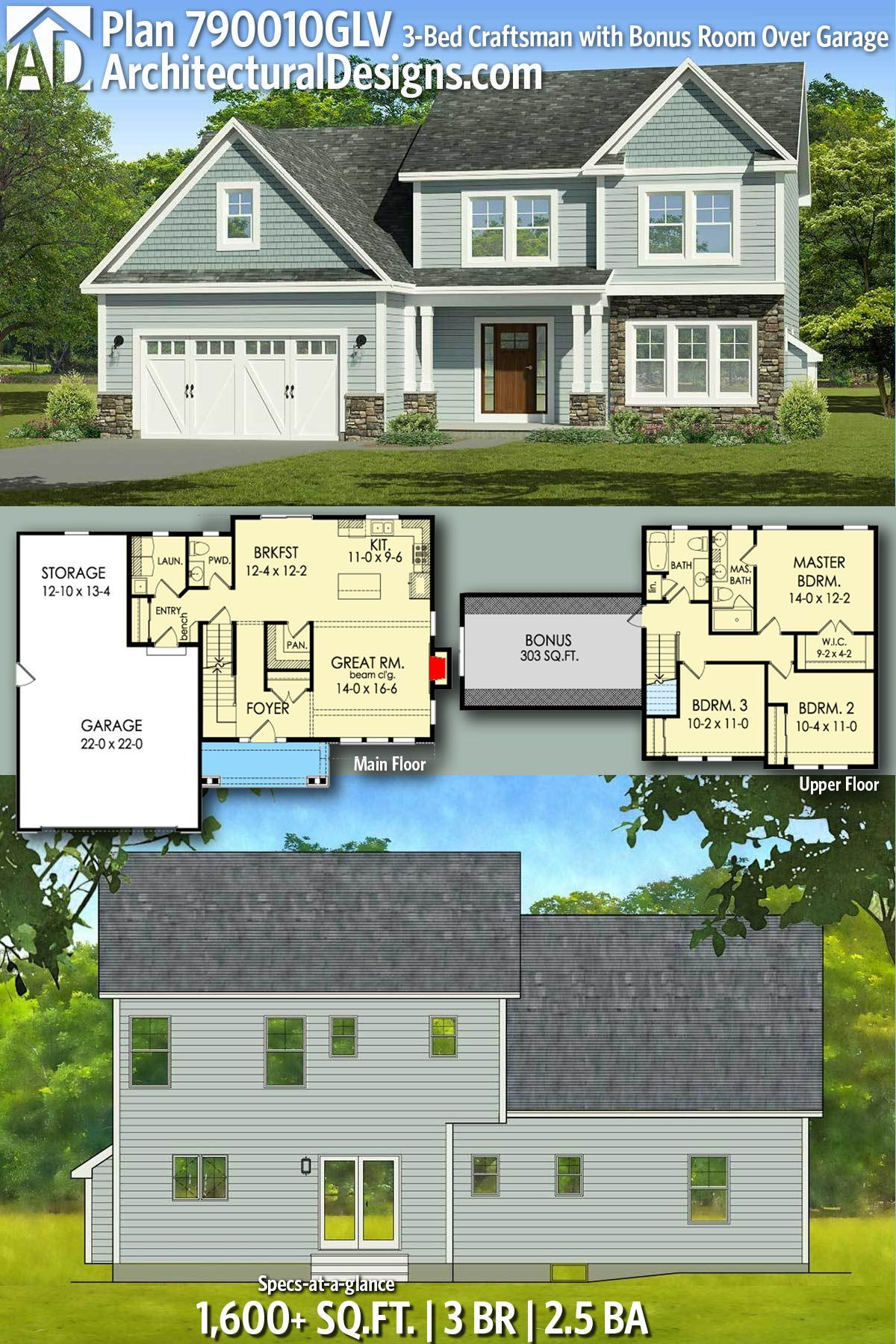 Architectural Designs Craftsman House Plan 790010GLV gives you 3 beds, 2.5 baths...        Architectural Designs Craftsman House Plan 790010GLV gives you 3 beds, 2.5 baths, and over 1,600 sq. ft. of heated living space PLUS a bonus room over the garage. Ready when you are. Where do YOU want to build? #790010GLV #adhouseplans #architecturaldesigns #houseplan #architecture #newhome #newconstruction #newhouse #homedesign #dreamhome #dreamhouse #homeplan #architecture #architect #craftsman #...