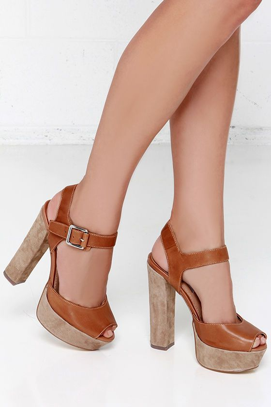 Tan Leather Platform Sandals Super cute Leather Sandal With Suede Platform  and heel Steve Madden Shoes Heels