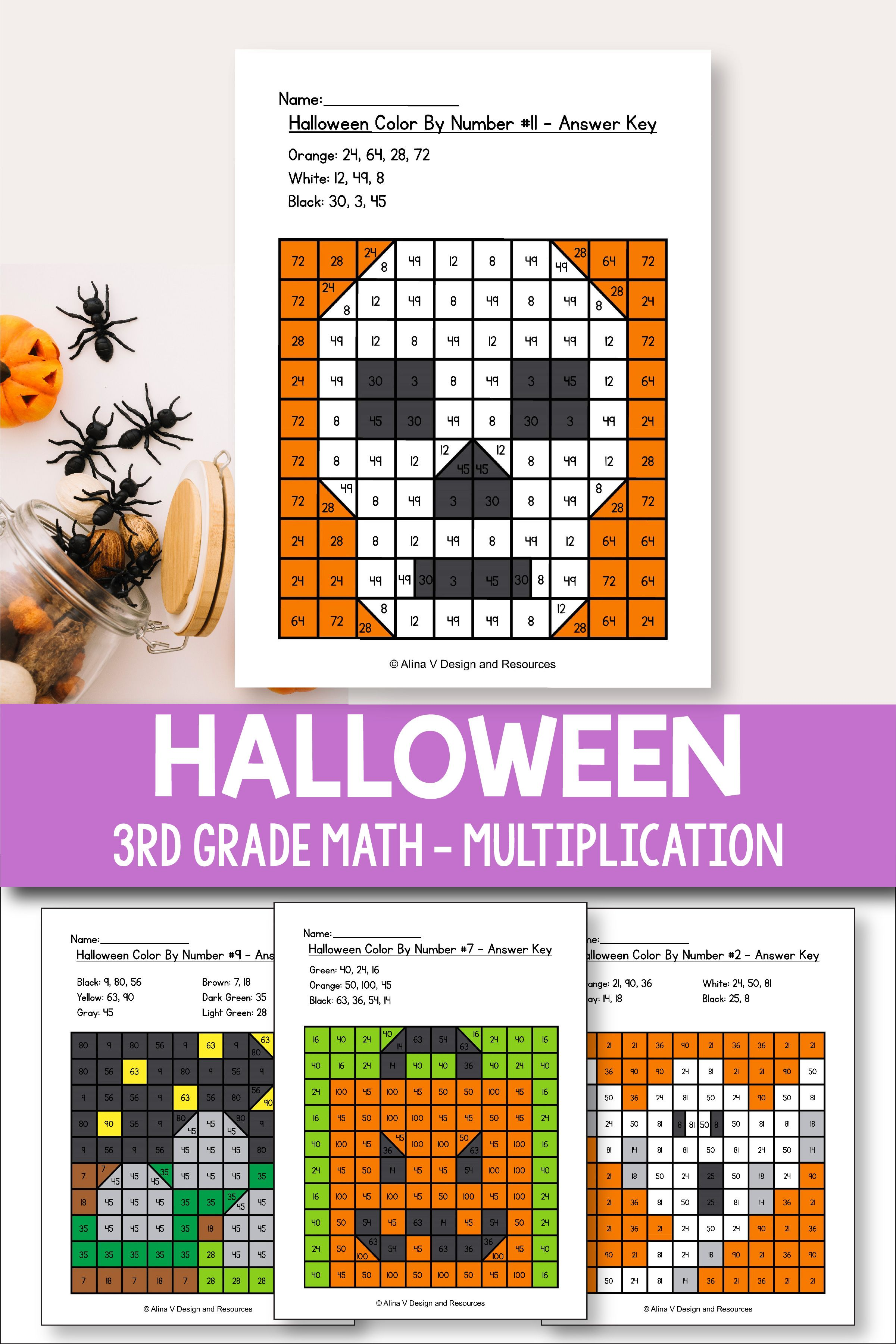 Halloween Multiplication Math Worksheets for 3rd grade kids is fun with  these hundreds chart prin…   Halloween math worksheets [ 3601 x 2401 Pixel ]