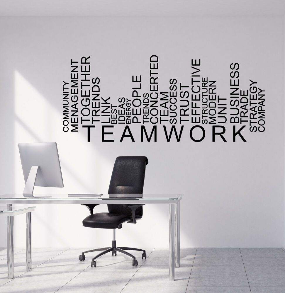 Details About Vinyl Wall Decal Teamwork Words Business Office