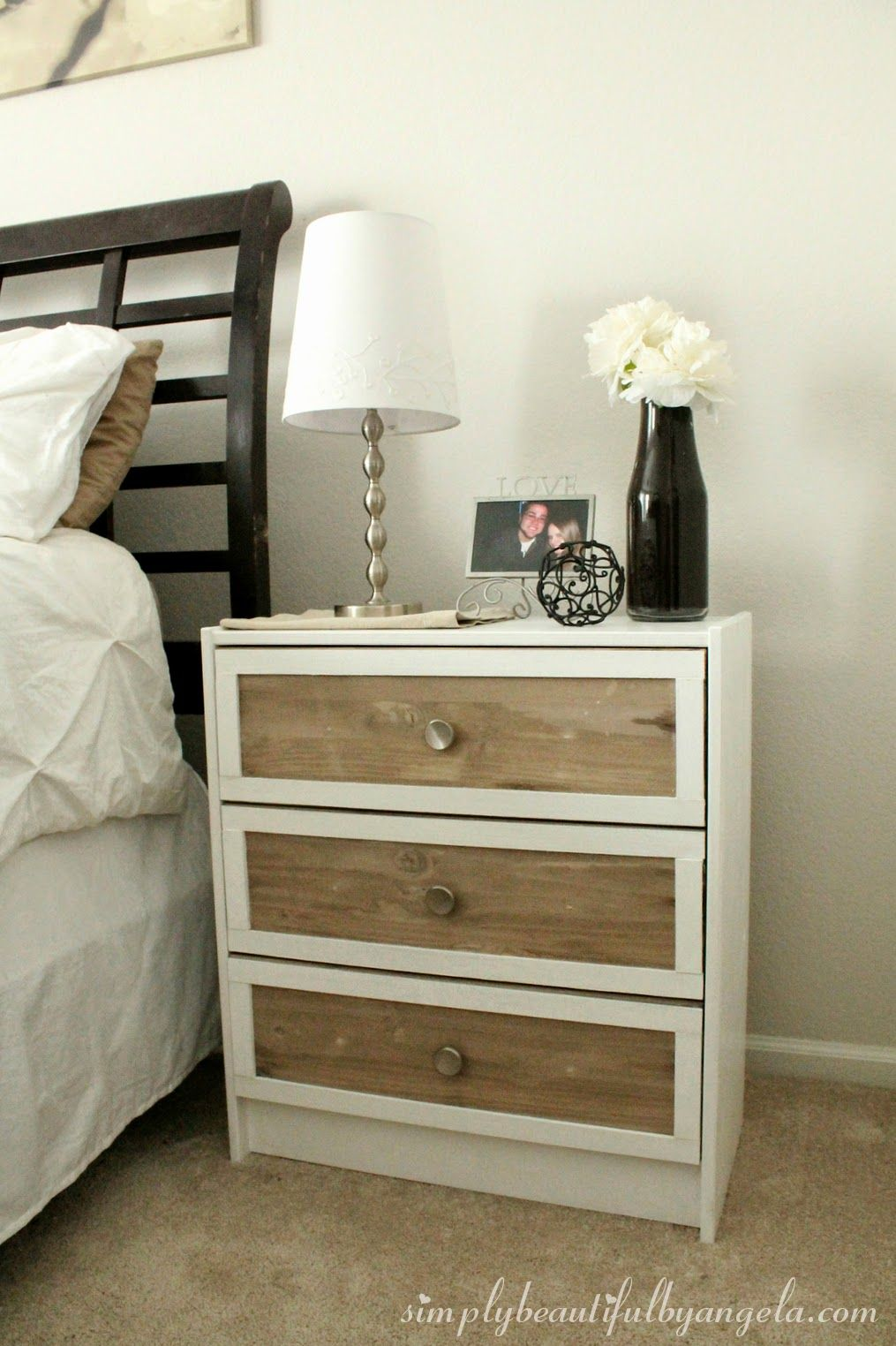ikea rast nightstand hack good directions on how to paint and stain wood like the white frame. Black Bedroom Furniture Sets. Home Design Ideas
