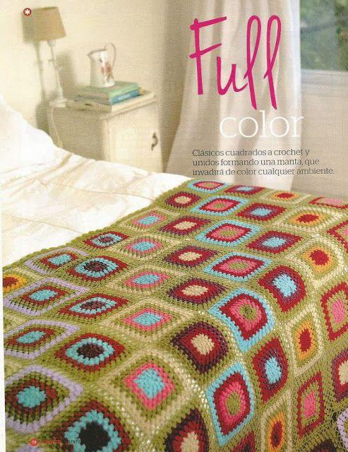 Patrón #597: Colcha Full Color a Crochet #ctejidas http://blgs.co ...