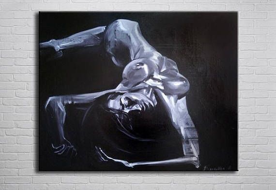 Christmas gift Erotic Nude black and white Oil Painting Naked ...