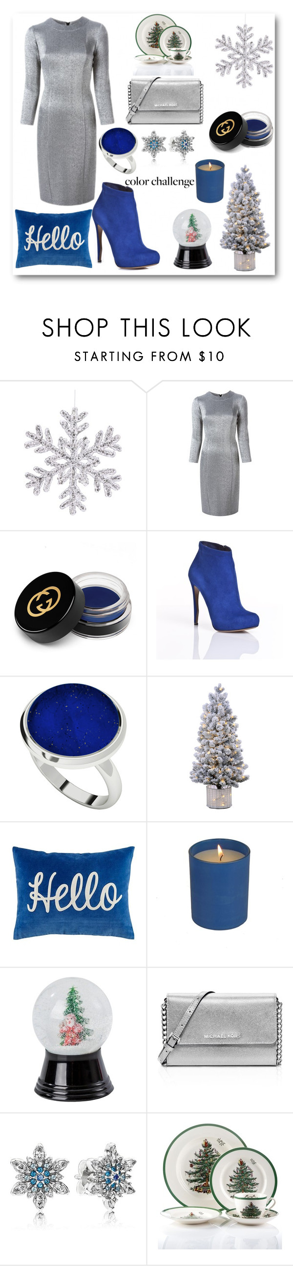 """""""Untitled #543"""" by katrina259 ❤ liked on Polyvore featuring Gianluca Capannolo, Gucci, Nicholas Kirkwood, StyleRocks, MICHAEL Michael Kors, Pandora, Spode, colorchallenge, holidaystyle and blueandsilver"""