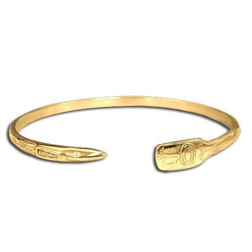 14K Yellow Gold Northwest Coast Native American Narrow Raven Bracelet. Made in USA. Metal Arts Group. $1905.00