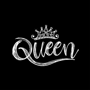 Queen Word With Crown Black And White, Word Clipart, Abstract, Art PNG and Vector with Transparent Background for Free Download
