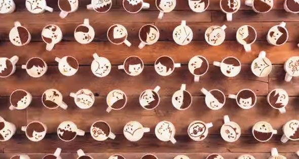 Latte Motion, An Adorable Animation Created With 1,000 Cups of Coffee by Chris Durso | December 29, 2014 | 1 Comment latte-motion Coffee… It helps make us less ornery in the morning, and now it's being used to tell a touching love story. Latte Motion is a cute animation that uses upwards of 1,000 cups of coffee, latte art, and stop-motion animation to create the story of a couple getting together.
