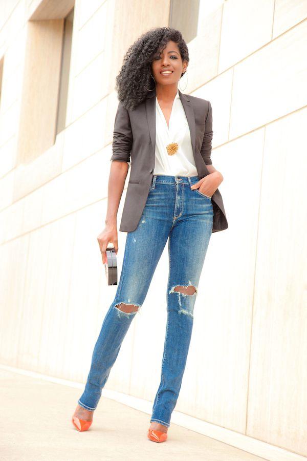 Blazer + Wrap Blouse + Ripped High Waist Jeans   Style Me This   Pinterest   Wrap blouse ...