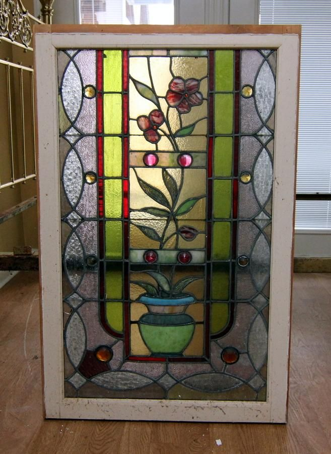4 Wood Framed Stained Glass Windows | Auction online | Pinterest ...
