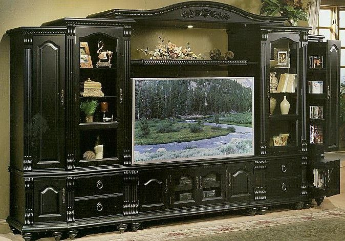Black entertainment center wall unit wall unit bookcase with glass doors da vinci by parker for The parkers tv show living room