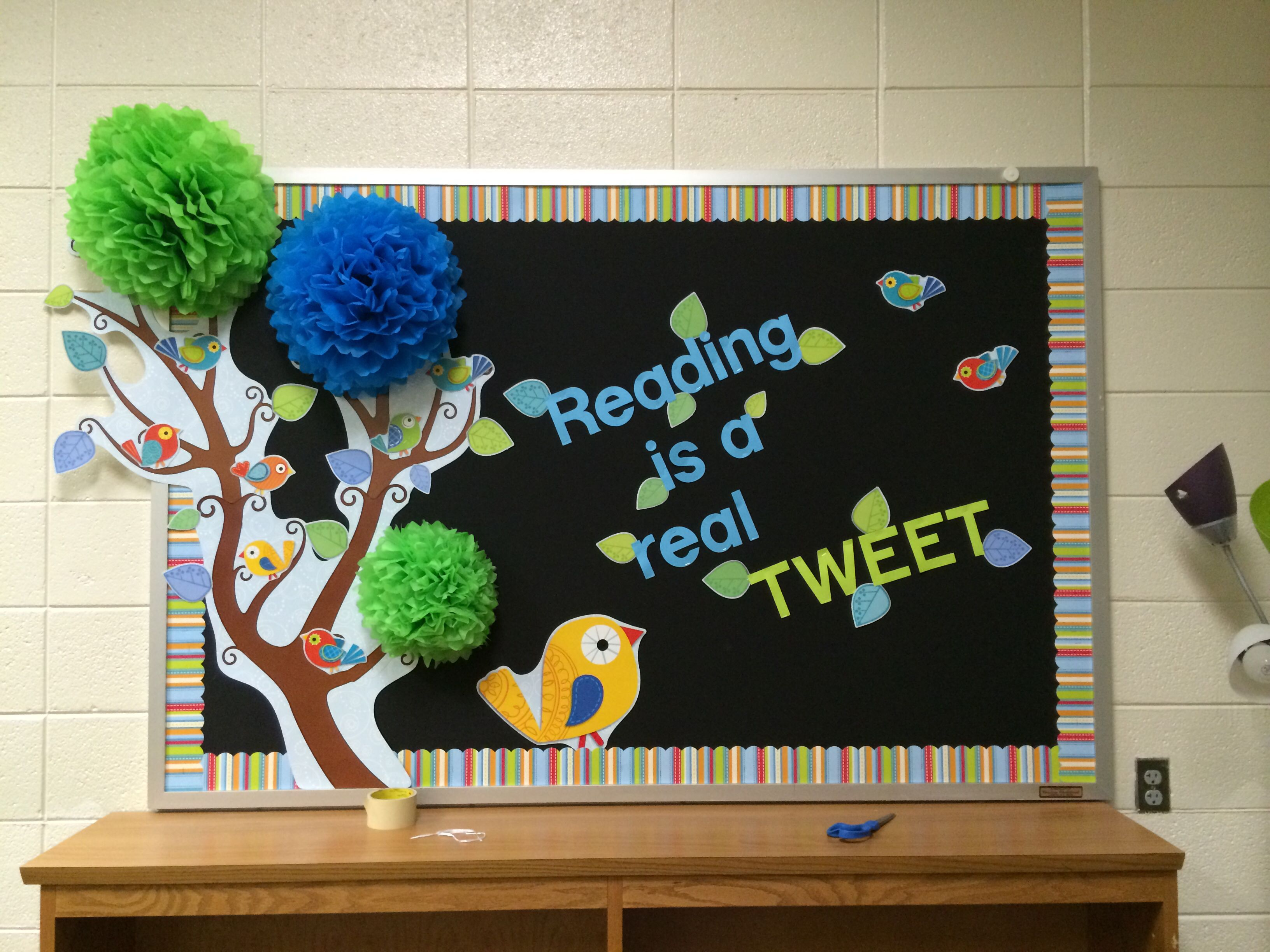 Cute Title For A Reading Bulletin Board: Reading Is A Real TWEET!