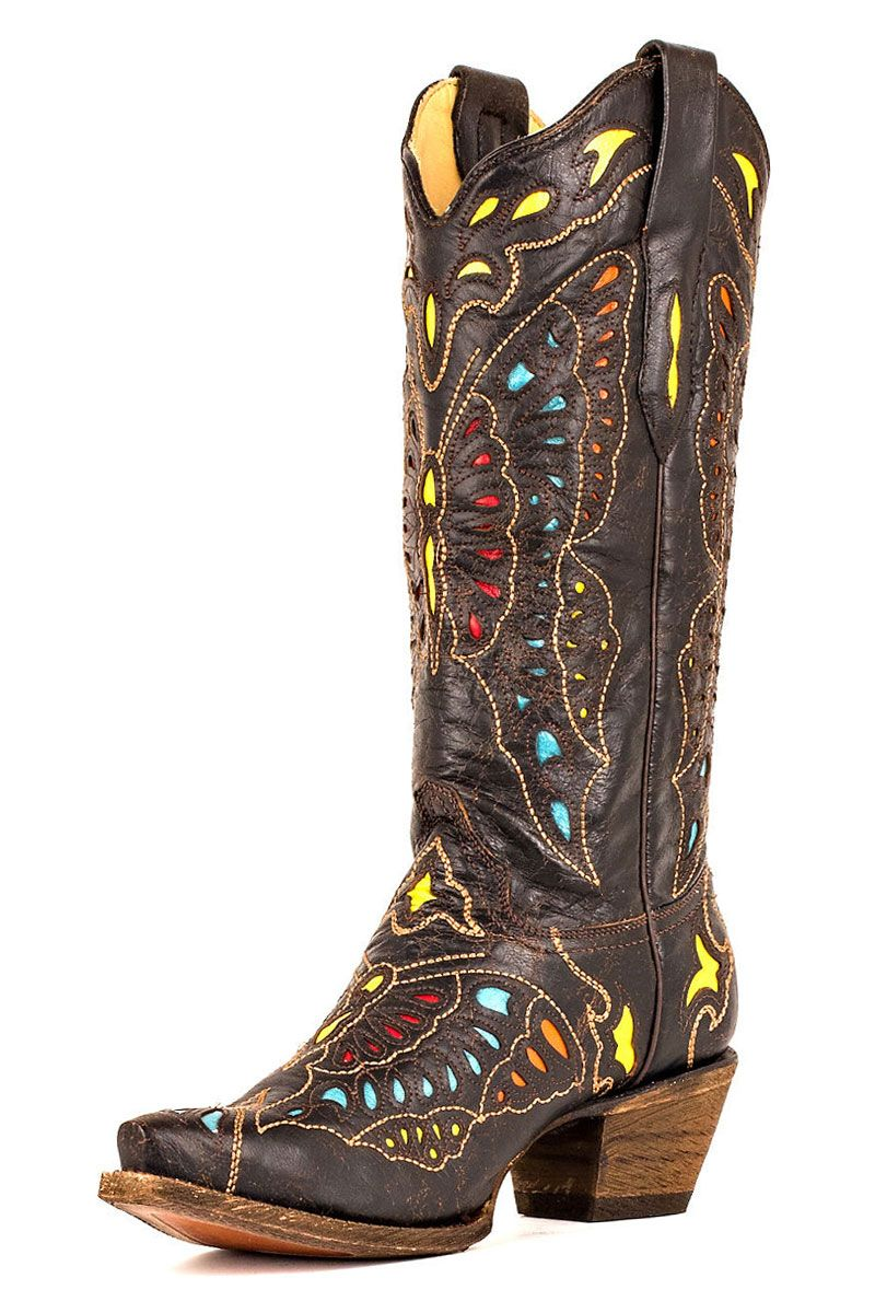 491fe4ab445 Corral Women's Yellow Red and Turquoise Butterfly Cowgirl Boots ...