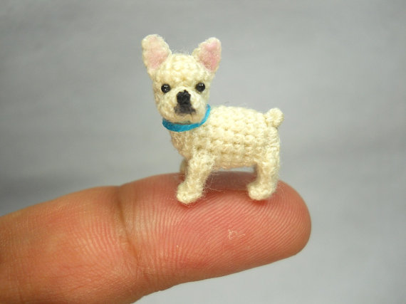 Mini White French Bulldog - Micro amigurumi Tiny Crocheted Dog ...