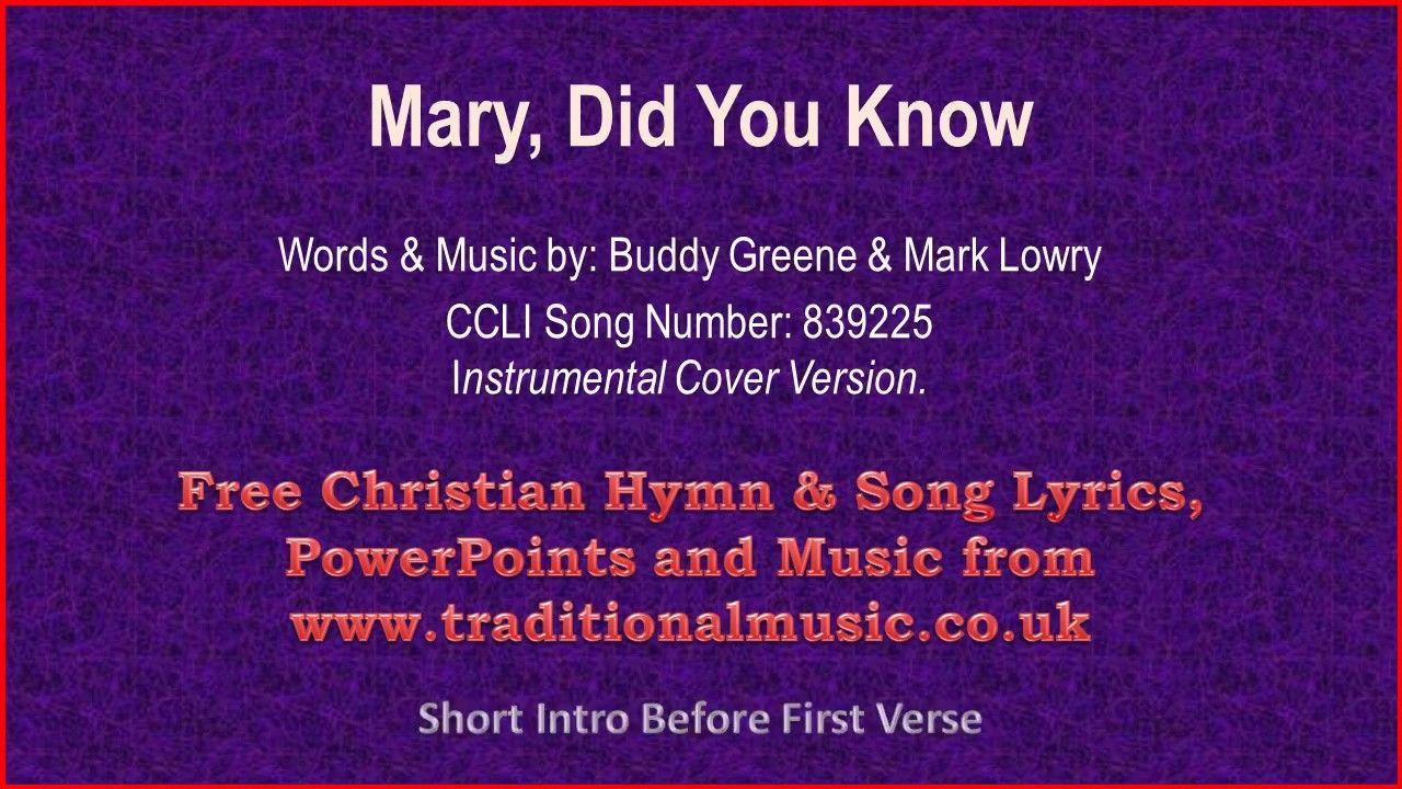 Mary, Did You Know - Christmas Carols Lyrics & Music   Christian song lyrics, Lyrics, Christian ...