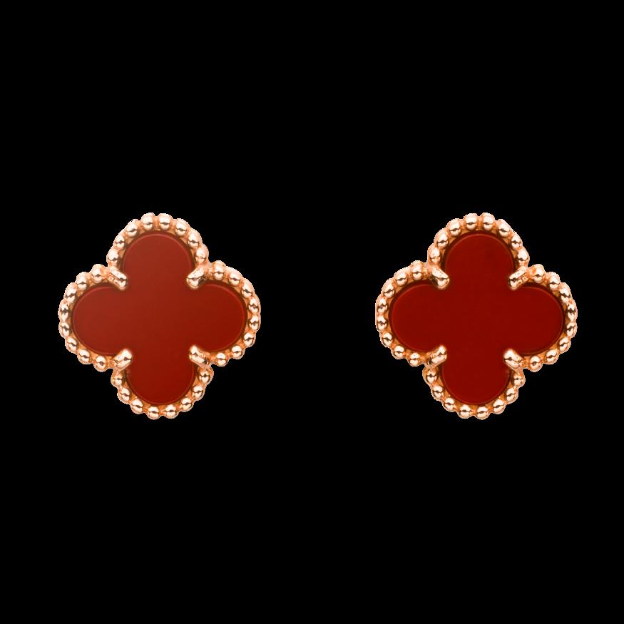 988c8581c Sweet Alhambra earstuds, pink gold, carnelian. Van Cleef & Arpels ...