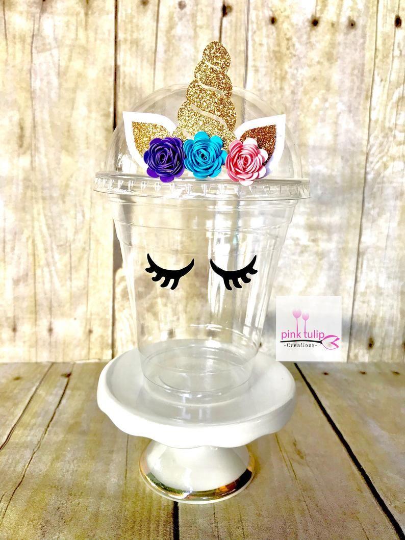 Unicorn Cups Favor Cups Popcorn Cups Fruit Cups Unicorn Party Unicorn Theme In 2020 Unicorn Cups Favor Cups Unicorn Birthday Party Decorations