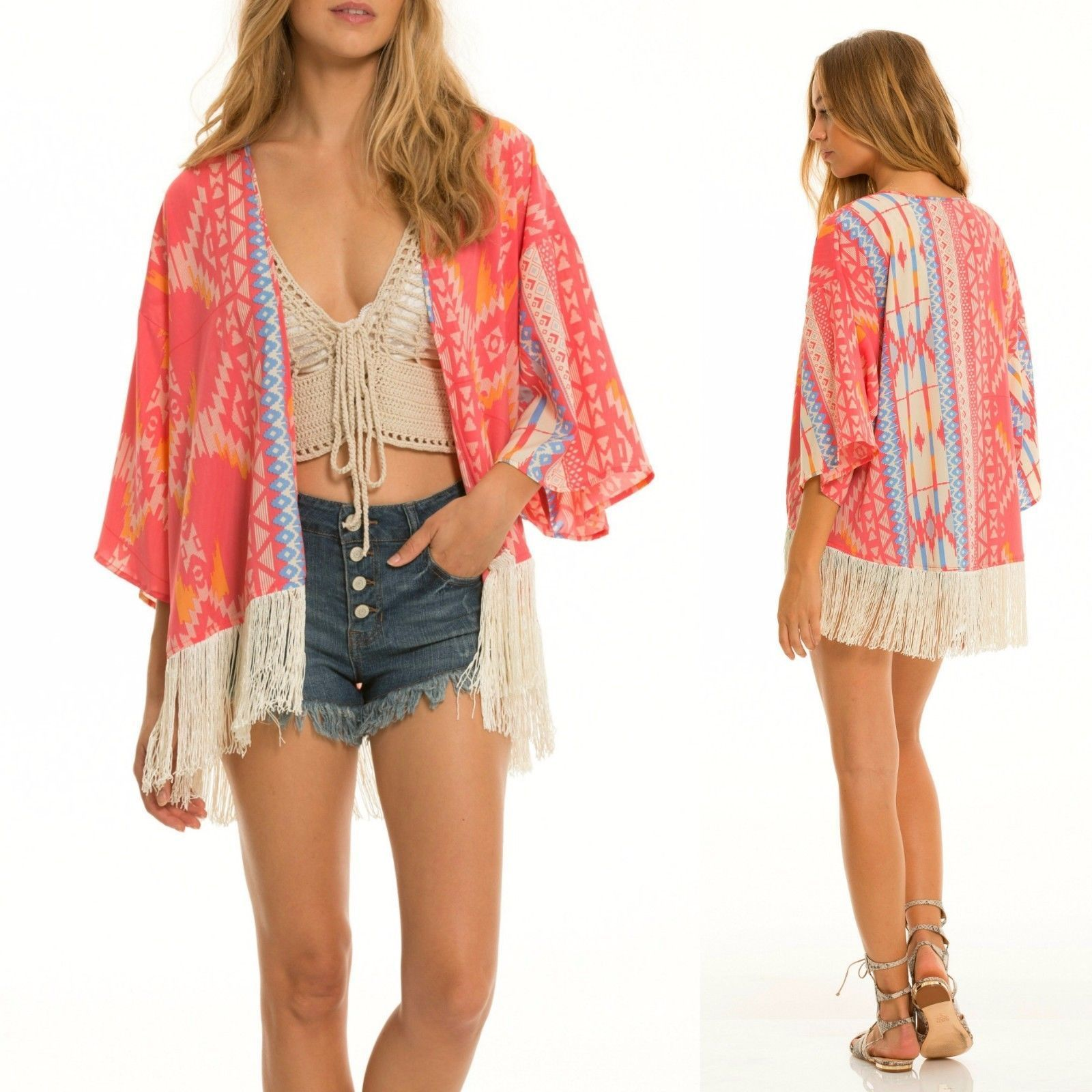 Elan Boho Santa Fe Pink Coral Fringe Kimono Cardigan Tribal Aztec ...