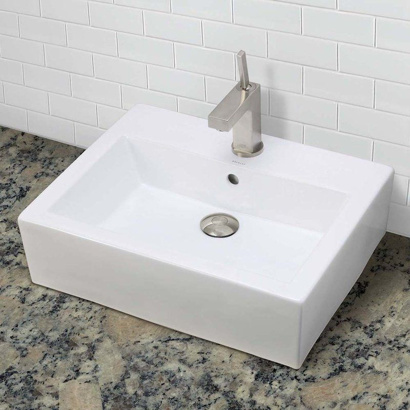 Classically Redefined Ceramic Rectangular Vessel Bathroom Sink with - Vessel Sinks Bathroom