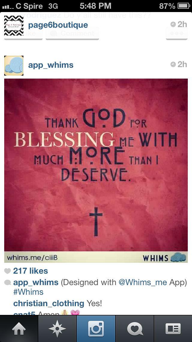 Thank God for blessing me