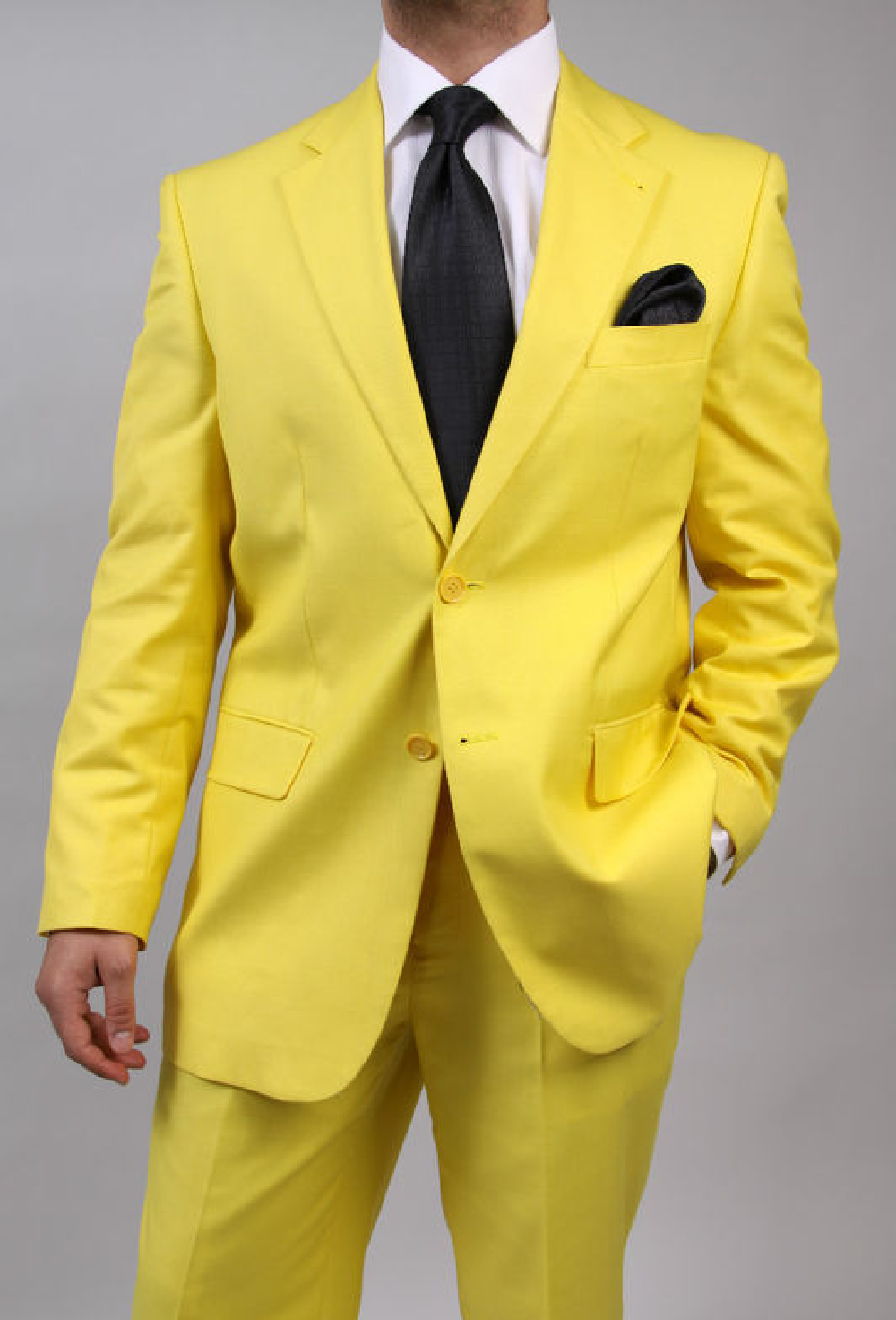 Yellow suit, would be best if it was old and worn, faded if ...