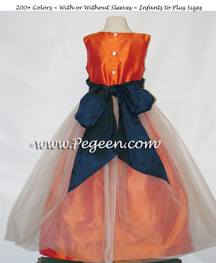 3adbc3aa9db Mango orange tulle flower girl dress by Pegeen.com