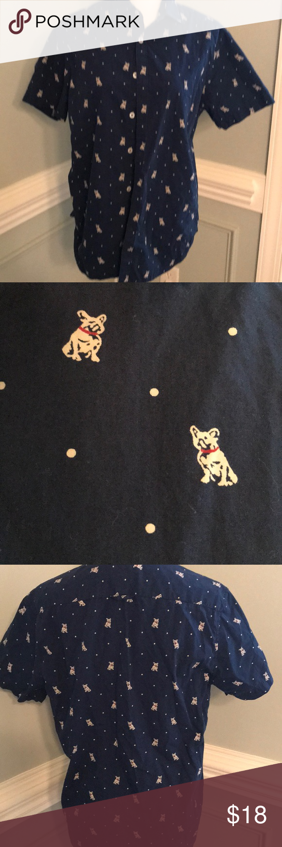 69d505d150 Denim and Flower Pug Shirt !!! Ricky Singh Omg This Pug Shirt is great !!!  Navy with Tan Pugs !! This is a Men s Slim fit M But could be Unisex !