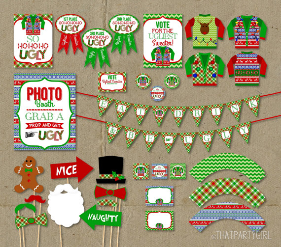 Ugly Sweater Party Photo Booth Props Package Ugly Sweater Party