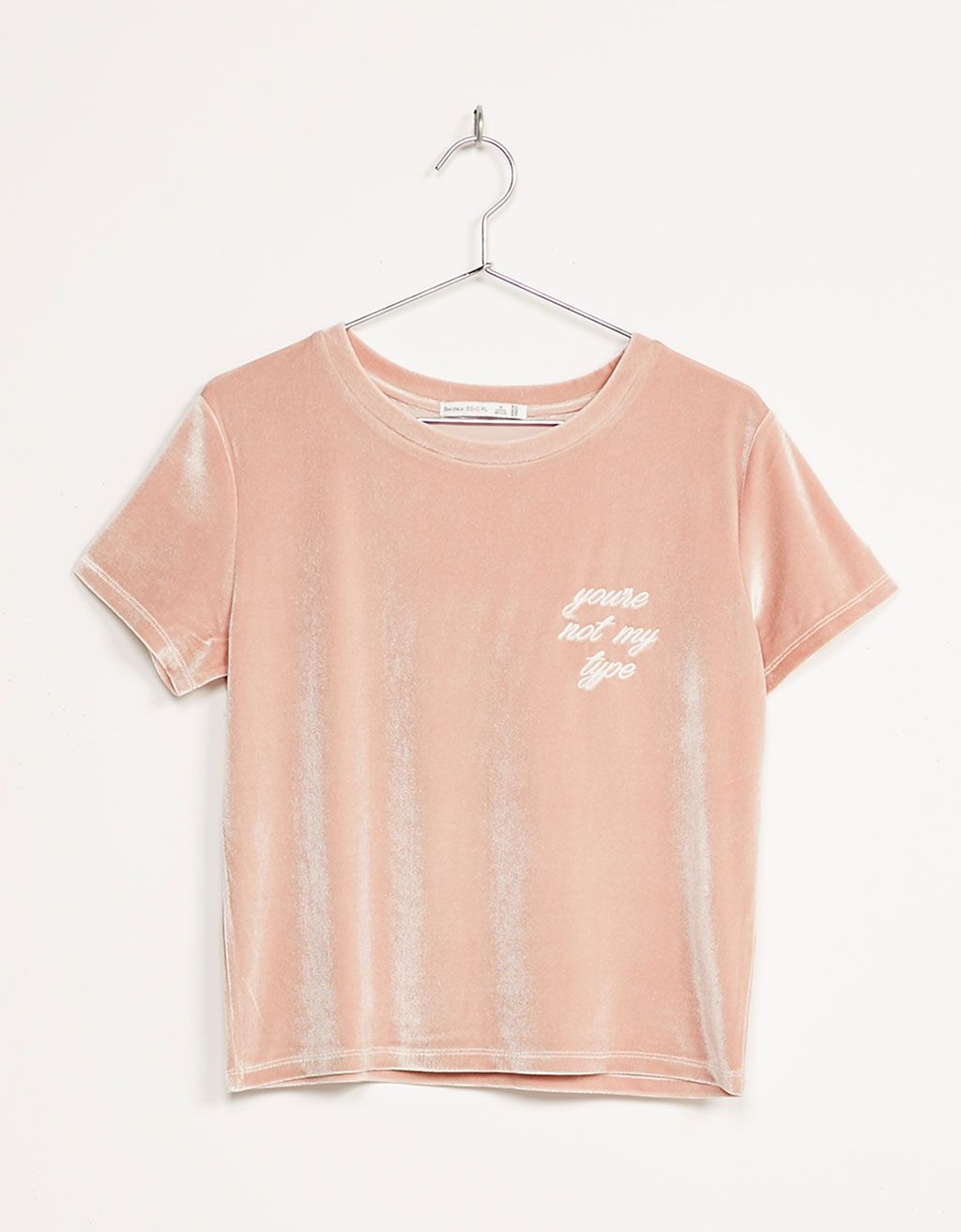Embroidered Text Velvet Top New Bershka United Kingdom Kleidung Tuch Kleidungsstuck