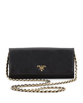 eaec45b13965 Saffiano Wallet on a Chain, Black (Nero) by Prada at Neiman Marcus ...