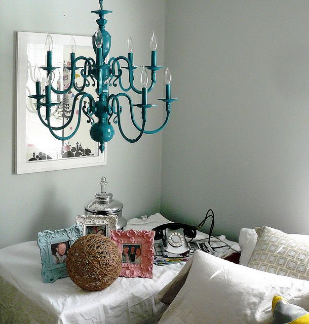 vintage turquoise chandelier - Turquoise Chandelier Light