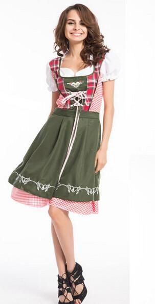 German Beer Oktoberfest Costume Girl Bavarian Women Fancy Dress Size S-XXL
