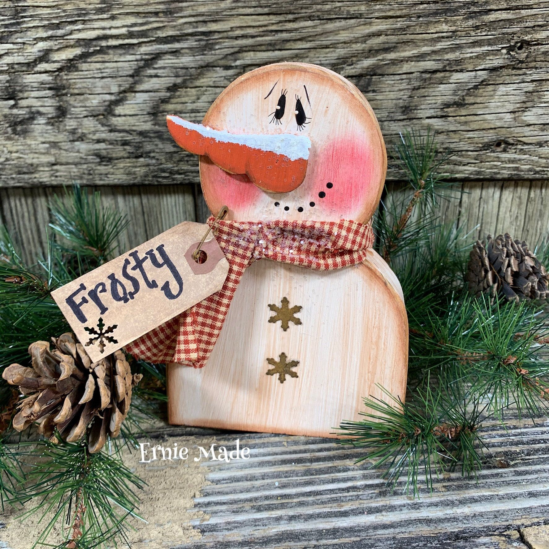 Handmade Primitive Snowman Head Sitter CHRISTMAS DECOR