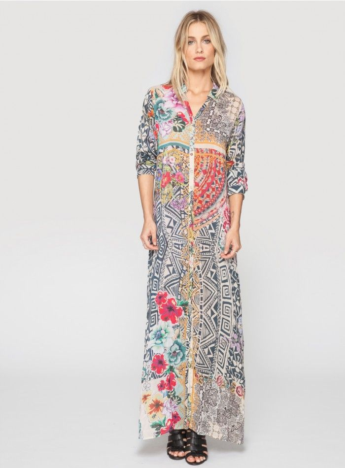 dfe4d14e97bc5 Johnny Was Clothing Plus Size Radiant Print Long Sleeve Button Down Maxi  Dress
