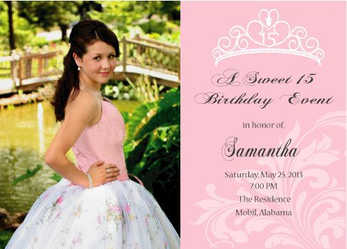 Sweet 16 or quinceanera invitation printable double sided sweet 16 or quinceanera invitation printable double by cecydesigns 1500 stopboris Choice Image